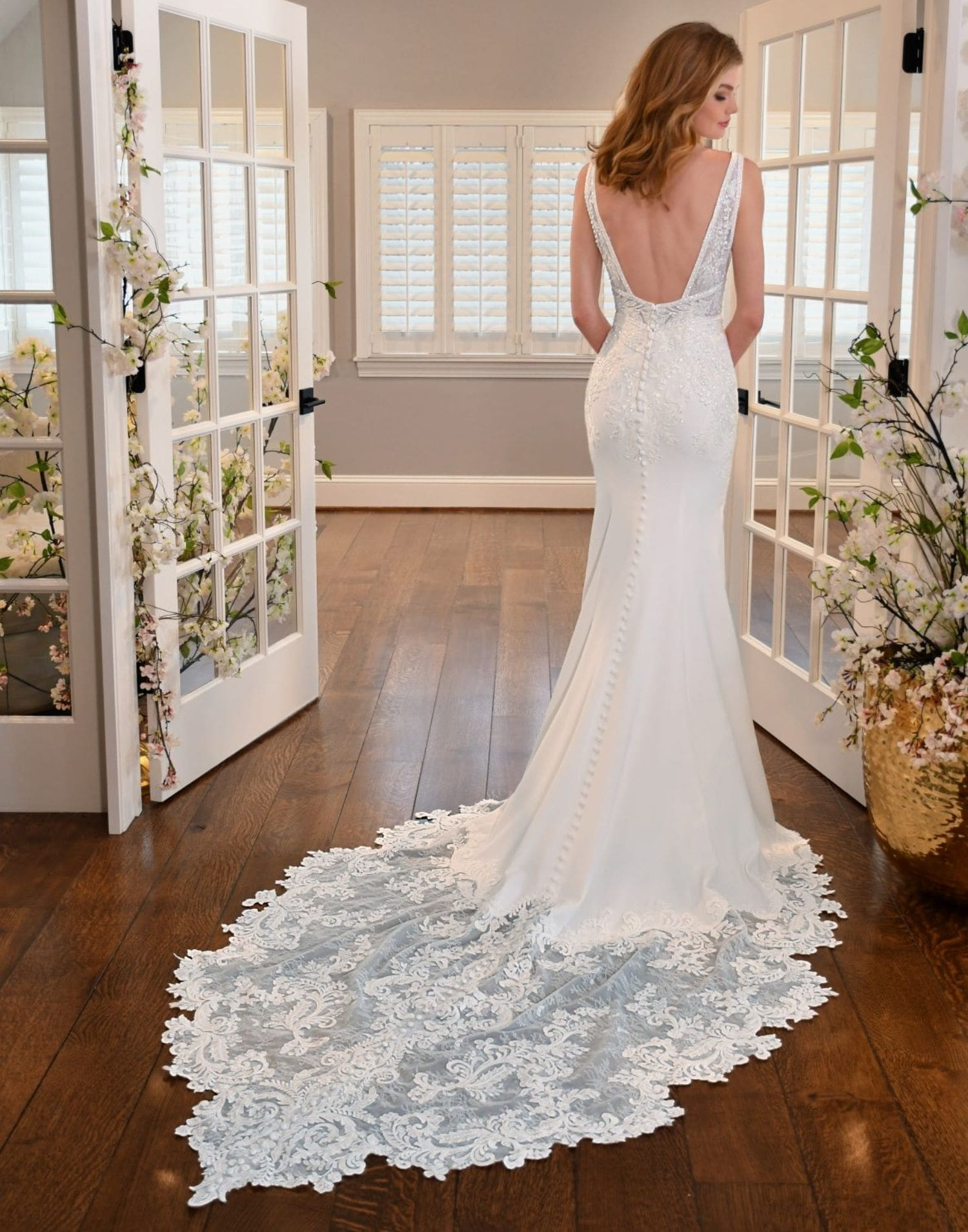 D3254 Close Up – Essense of Australia Wedding Dress Collection – Front View